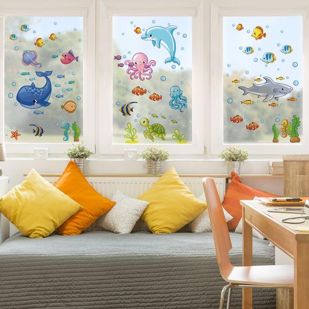 Fensterfolie - Fenstersticker - Unterwasserwelt - Fisch Set
