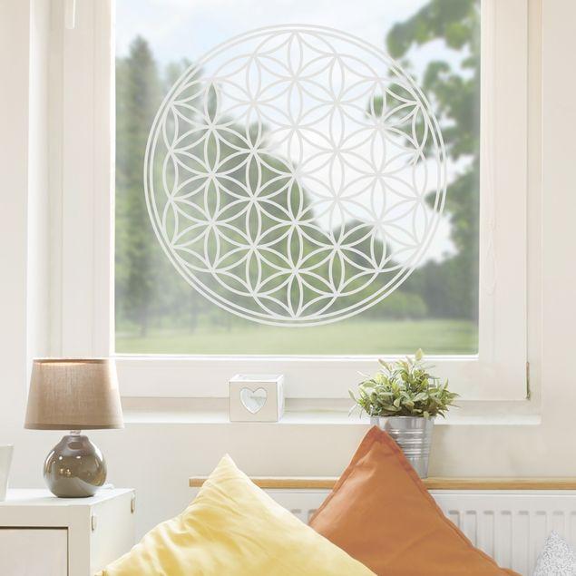 Fensterfolie - Fenstertattoo Blume des Lebens - Milchglasfolie