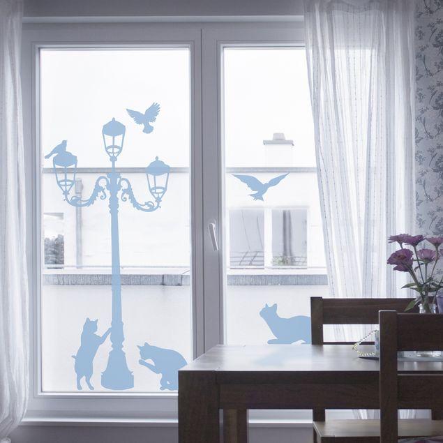 Fensterfolie - Fenstertattoo No.RS67 Katzen und Laterne - Milchglasfolie