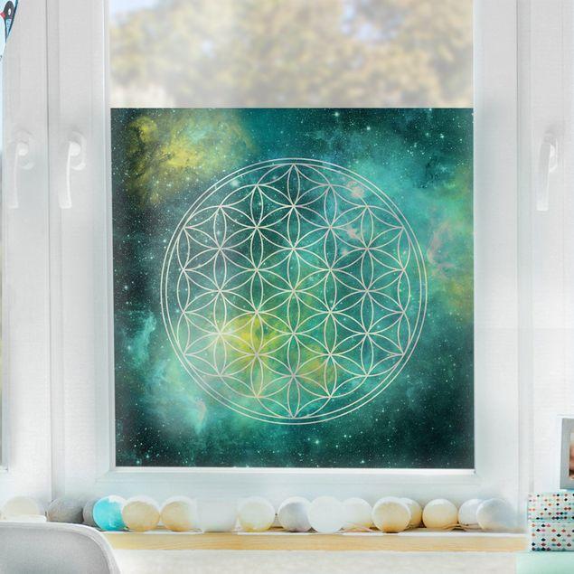 Fensterfolie - Sichtschutz Blume des Lebens im Licht der Sterne - Fensterbilder