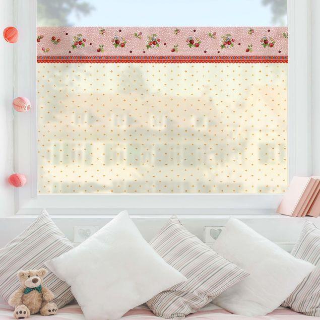 Fensterfolie Sichtschutz - Erdbeerinchen Erdbeerfee - Erdbeermuster - Fensterbild