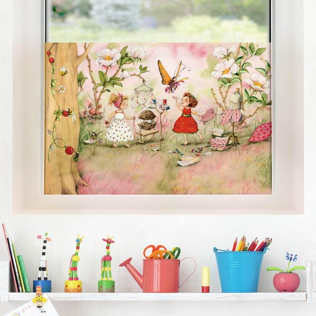 Fensterfolie Sichtschutz - Erdbeerinchen Erdbeerfee - Schneiderstube - Fensterbild