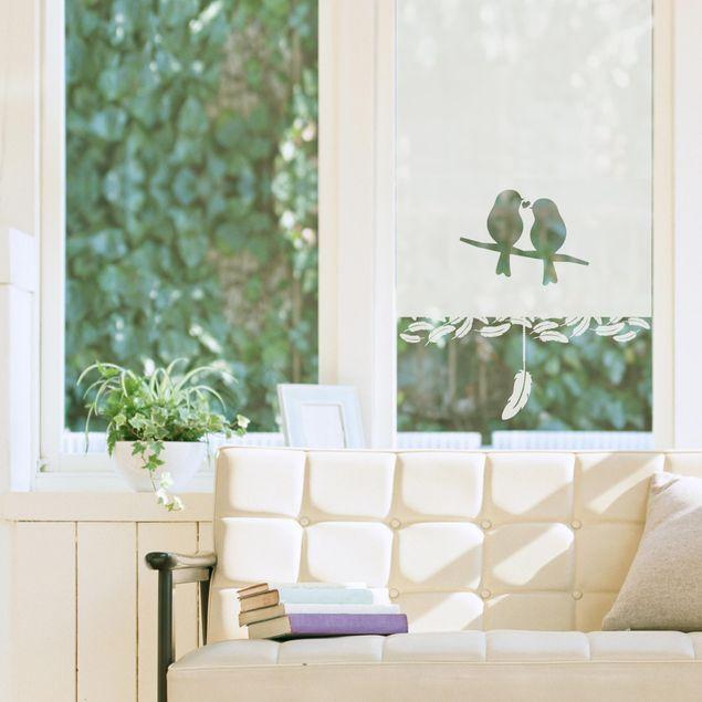 Sichtschutzfolie Rollo Optik Vogelpaar Landhaus - Milchglasfolie