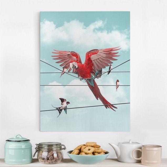 Leinwandbild - Jonas Loose - Himmel mit Vögeln - Hochformat 4:3