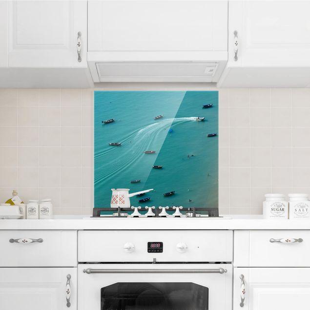 Glas Spritzschutz - Ankernde Fischerboote - Quadrat - 1:1