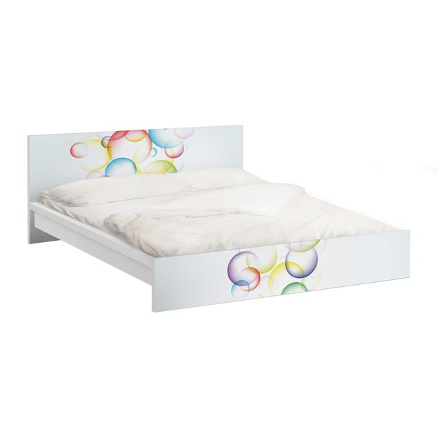 Möbelfolie für IKEA Malm Bett niedrig 140x200cm - Klebefolie Rainbow Bubbles