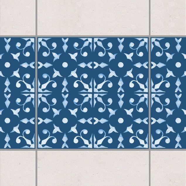 Fliesen Bordüre - Dunkelblau Weiß Muster Serie No.06 - 10cm x 10cm Fliesensticker Set