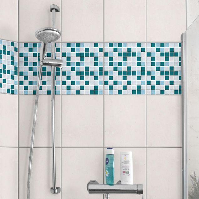 Fliesen Bordüre - Mosaikfliesen Türkis Blau 20x25 - Fliesensticker Set