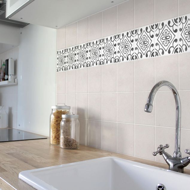 Fliesen Bordüre - Muster Grau Weiß Serie No.2 - 15cm x 15cm Fliesensticker Set