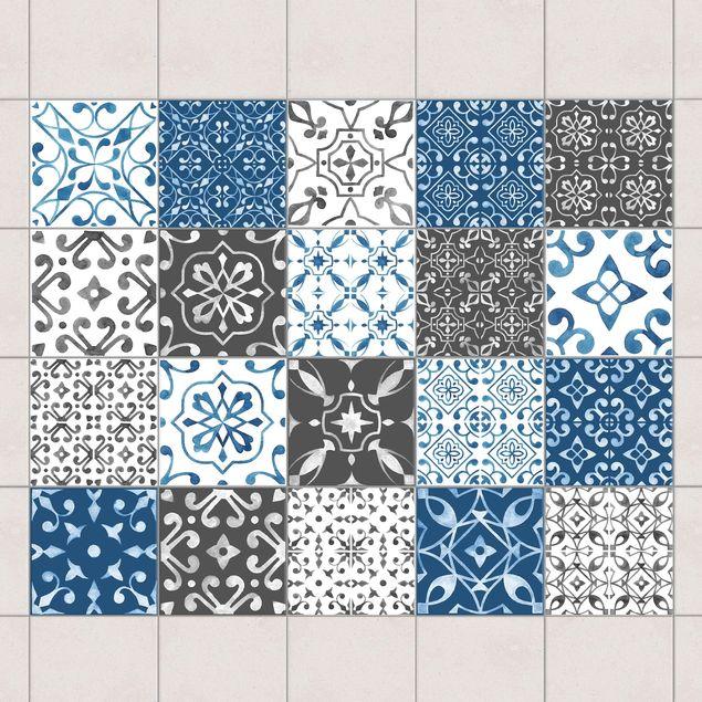 Fliesenaufkleber - Aquarell Muster Mix Grau Blau