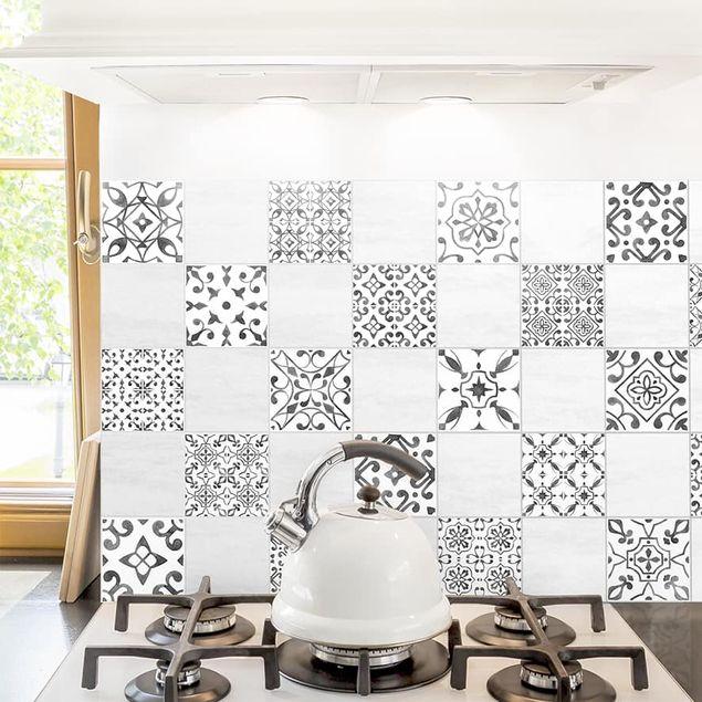 Fliesenaufkleber - Grau Weiß Muster Mix