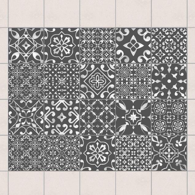 Fliesenaufkleber - Muster Mix Dunkelgrau Weiß