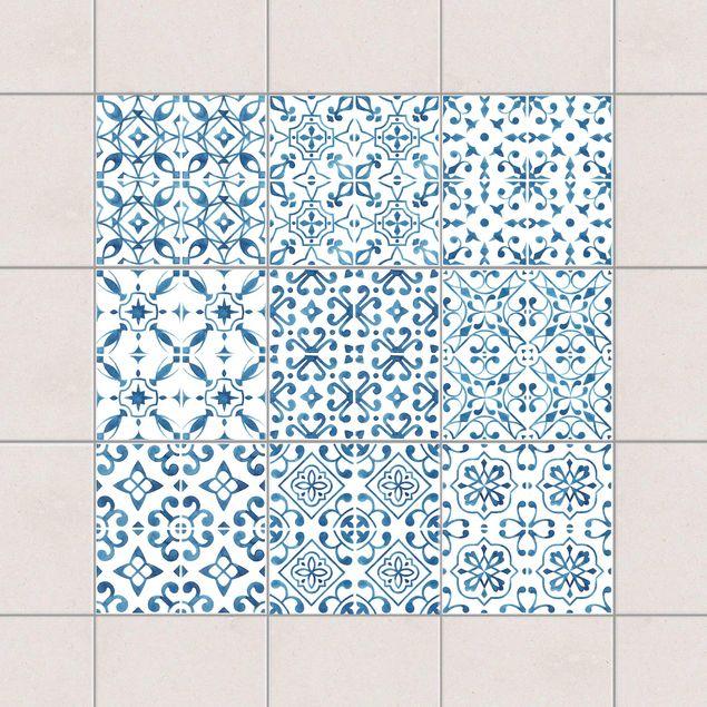 Fliesenaufkleber - Blau Weiß Muster Serie