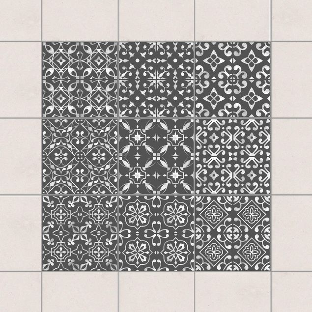 Fliesenaufkleber - Dunkelgrau Weiß Muster Serie