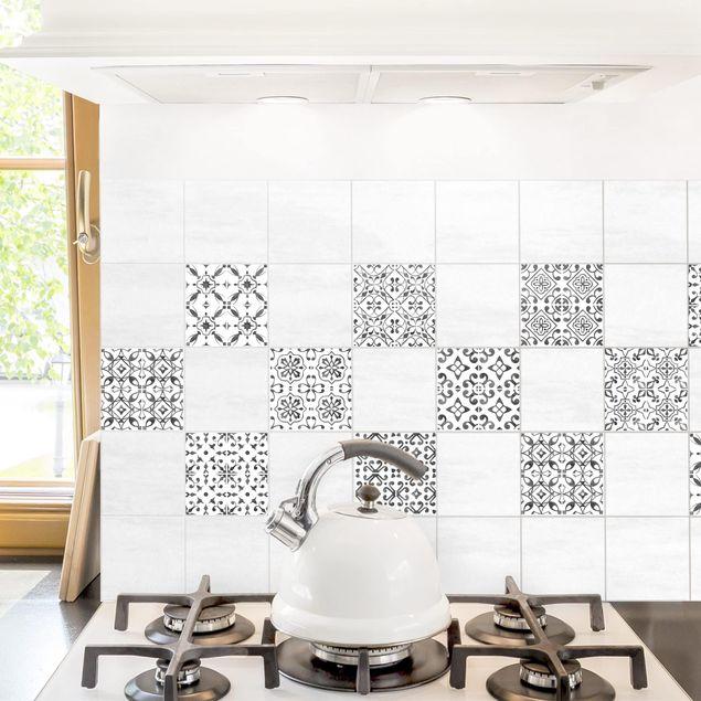 Fliesenaufkleber - Grau Weiß Muster Serie