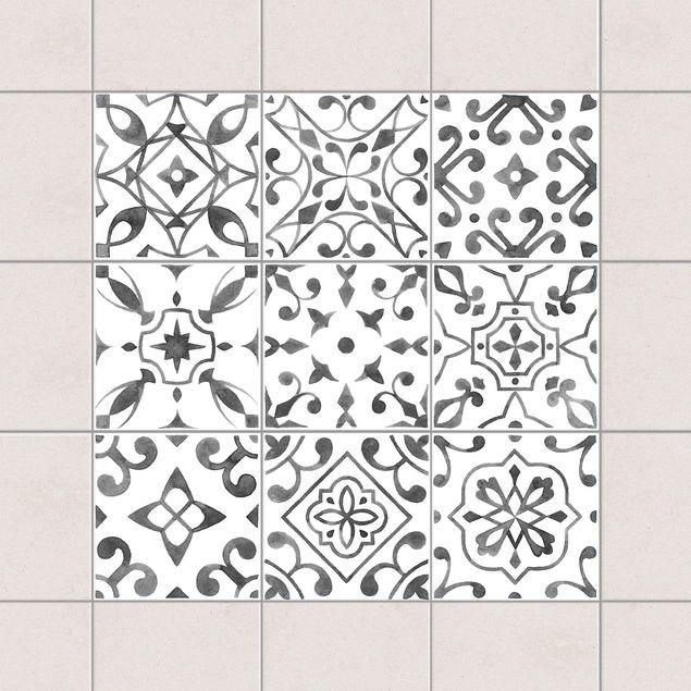 Fliesenaufkleber - Muster Grau Weiß Set