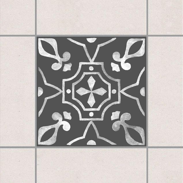 Fliesenaufkleber - Muster Dunkelgrau Weiß Serie No.08