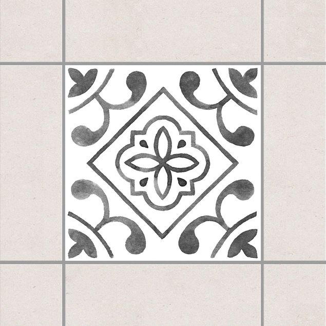Fliesenaufkleber - Muster Grau Weiß Serie No.2