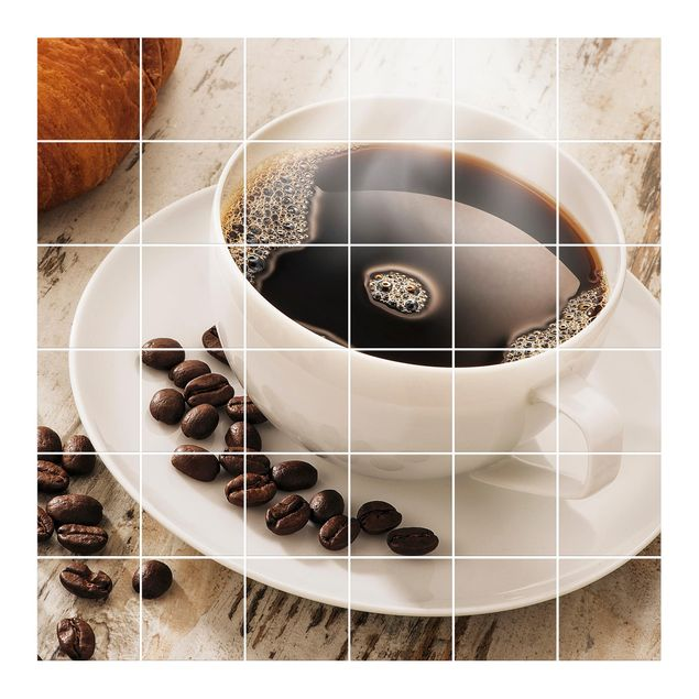 Fliesenbild - Dampfende Kaffeetasse mit Kaffeebohnen