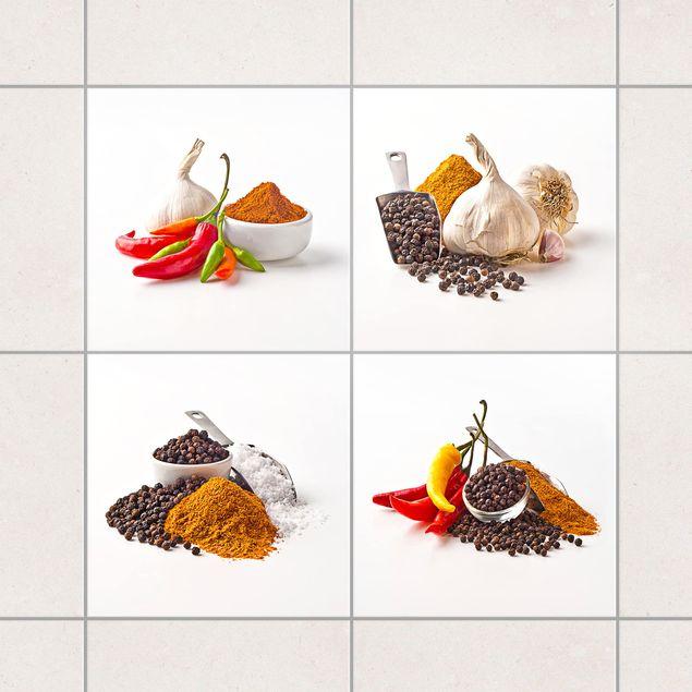 Fliesenaufkleber - Chili Knoblauch und Gewürzs