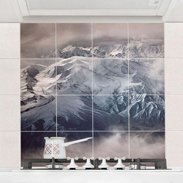 Fliesenbild - Berge von Tibet - Fliesensticker Set quadratisch