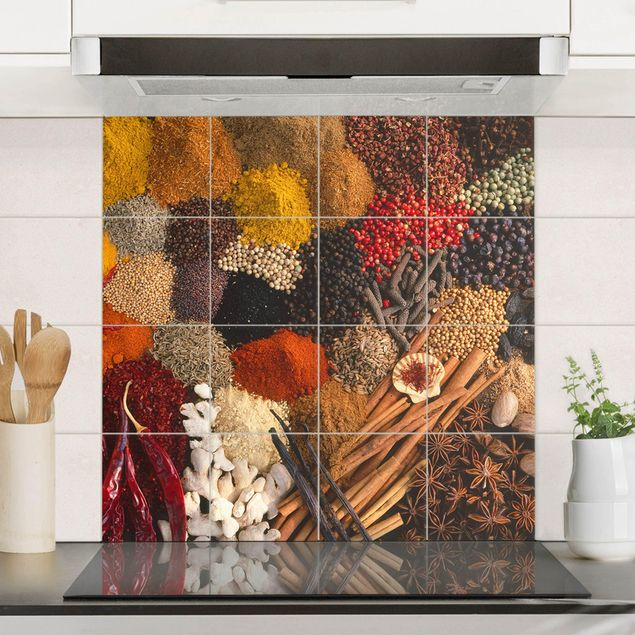 Fliesenbild - Exotische Gewürze - Fliesensticker Set quadratisch