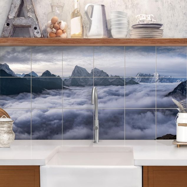Fliesenbild - Wolkenmeer im Himalaya - Fliesensticker Set Querformat