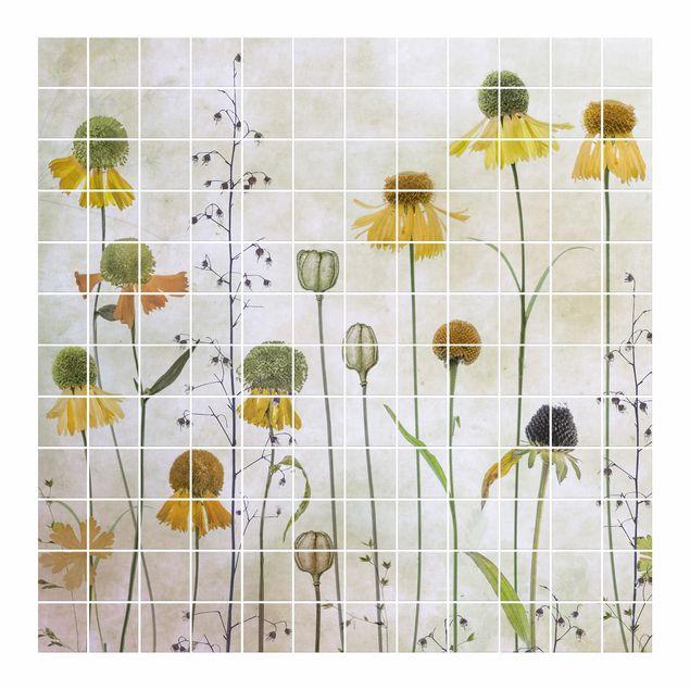 Fliesenbild - Zarte Helenium Blüten