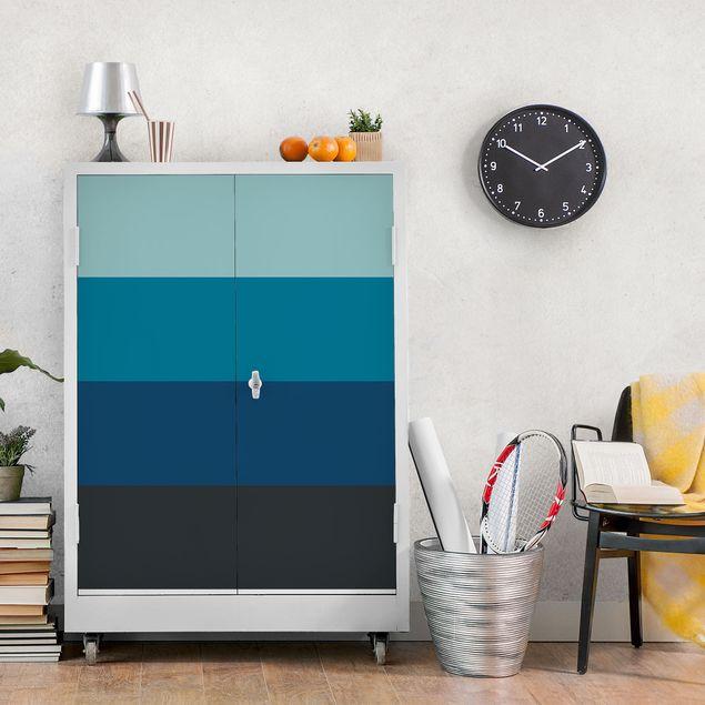 Folie für Möbel - Tiefe See 4 Farben Set - Pastelltürkis Petrol Preussisch Blau Mondgrau