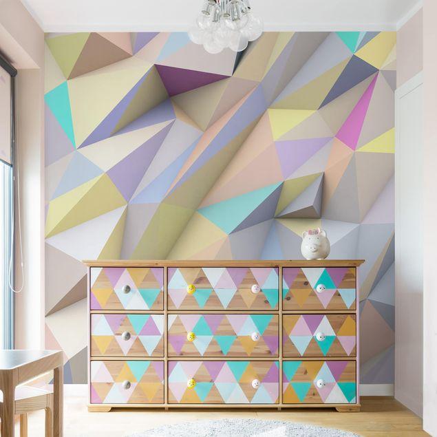 Fototapete Geometrische Pastell Dreiecke in 3D