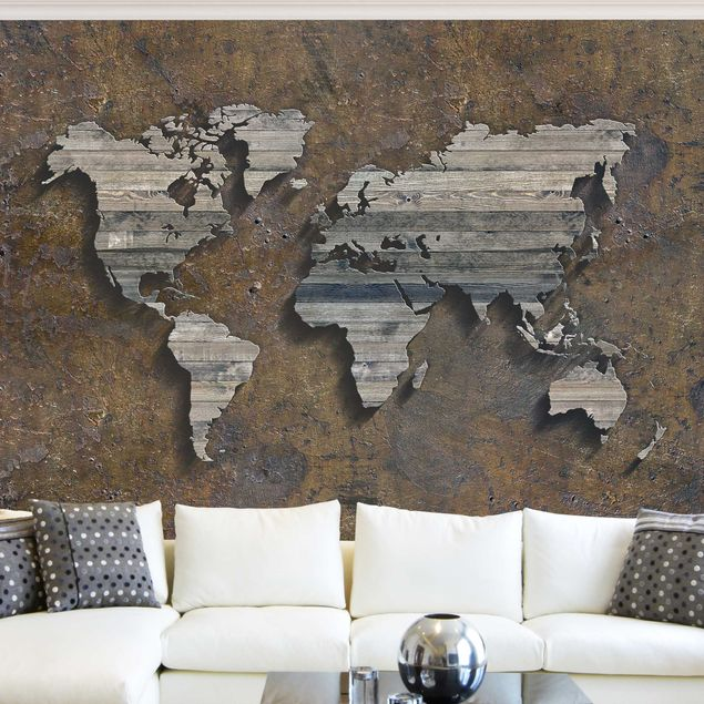 Fototapete Holz Rost Weltkarte
