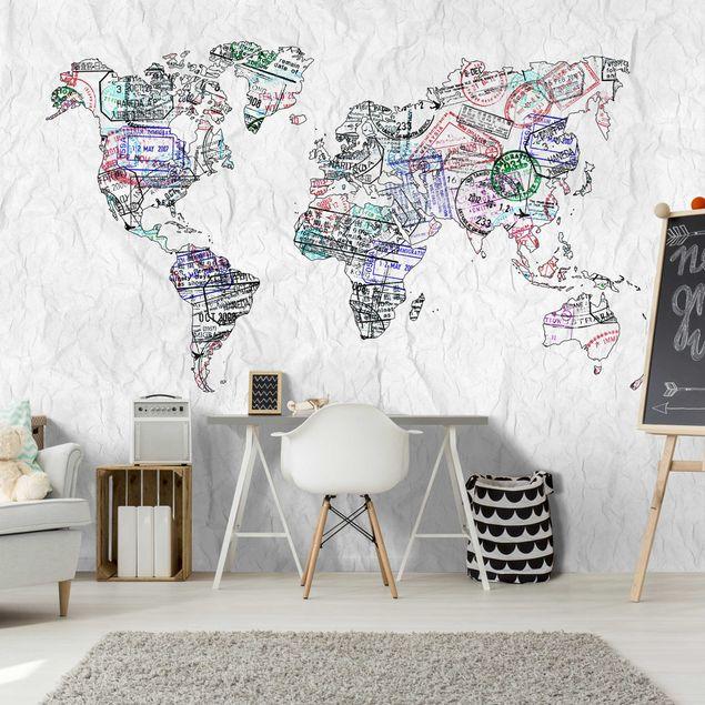 Fototapete Reisepass Stempel Weltkarte
