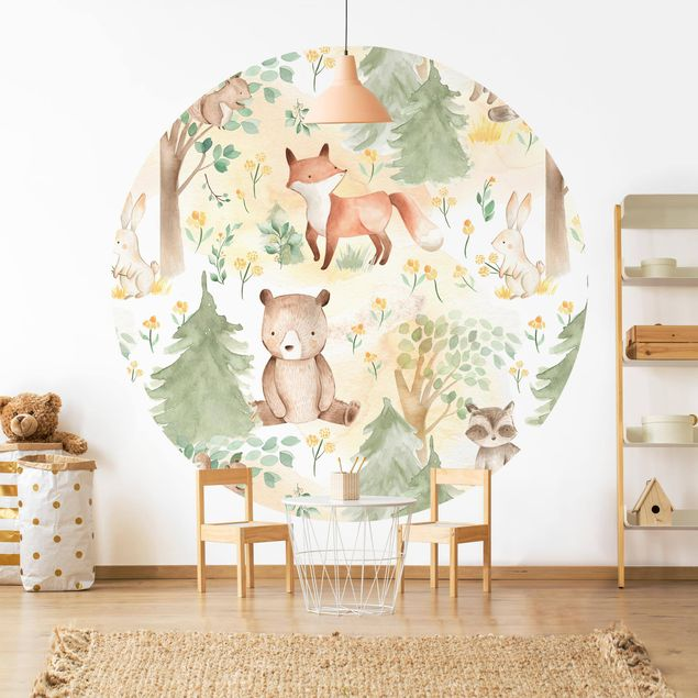 Runde Tapete selbstklebend - Fuchs und Hase mit Bäumen