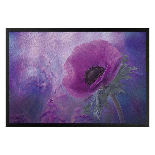 Fußmatte - Anemonenblüte in Violett