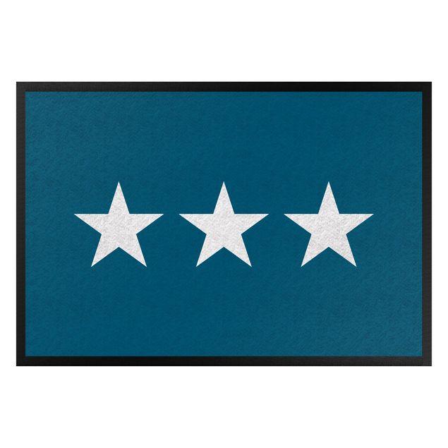 Fußmatte - Drei Sterne blau