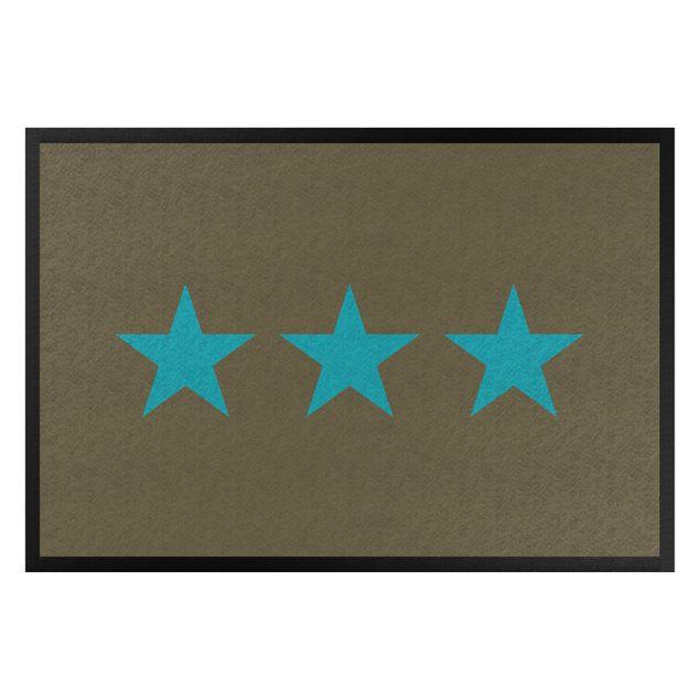 Fußmatte - Drei Sterne braun türkisblau