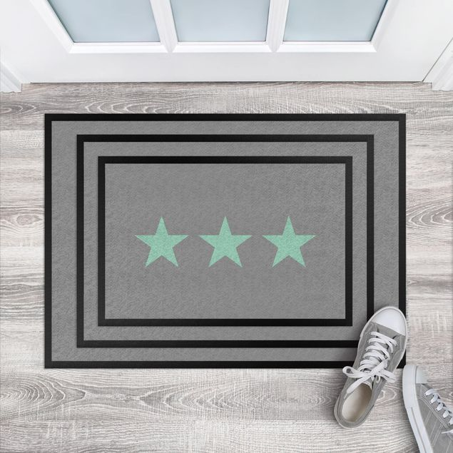 Fußmatte - Drei Sterne grau mint