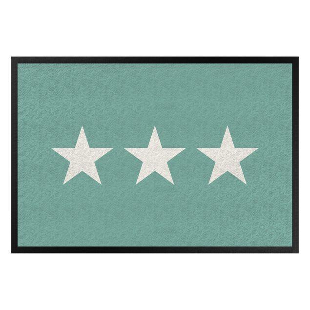 Fußmatte - Drei Sterne türkis