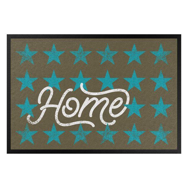 Fußmatte - Home Sterne braun türkisblau
