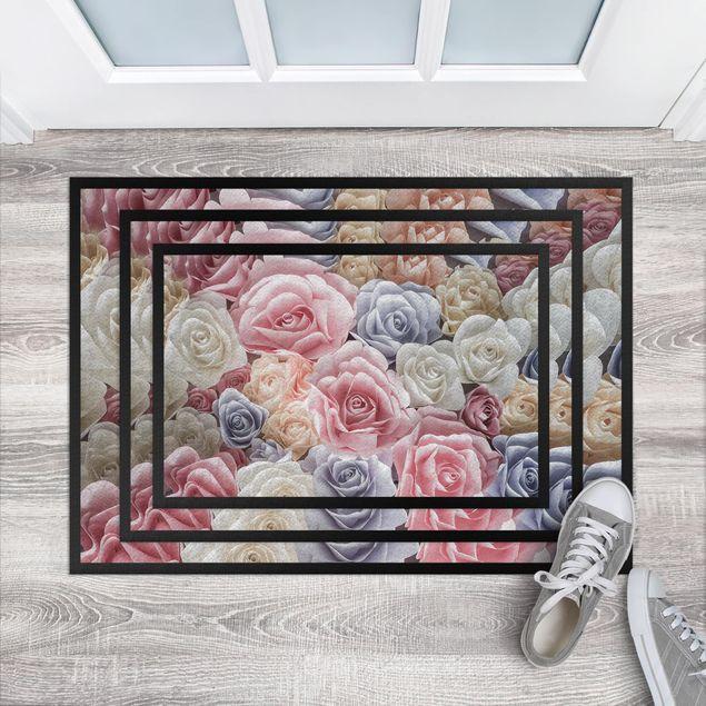 Fußmatte - Pastell Paper Art Rosen