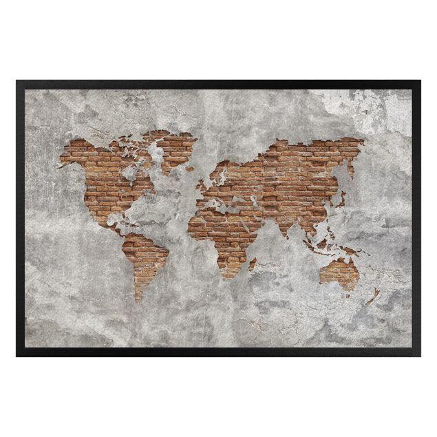Fußmatte - Shabby Beton Backstein Weltkarte
