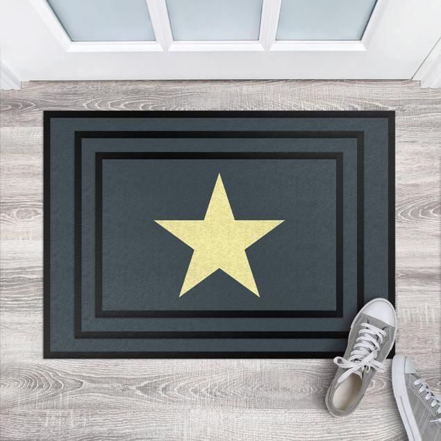 Fußmatte - Stern in petrol gelb