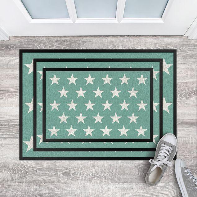 Fußmatte - Sterne versetzt türkis
