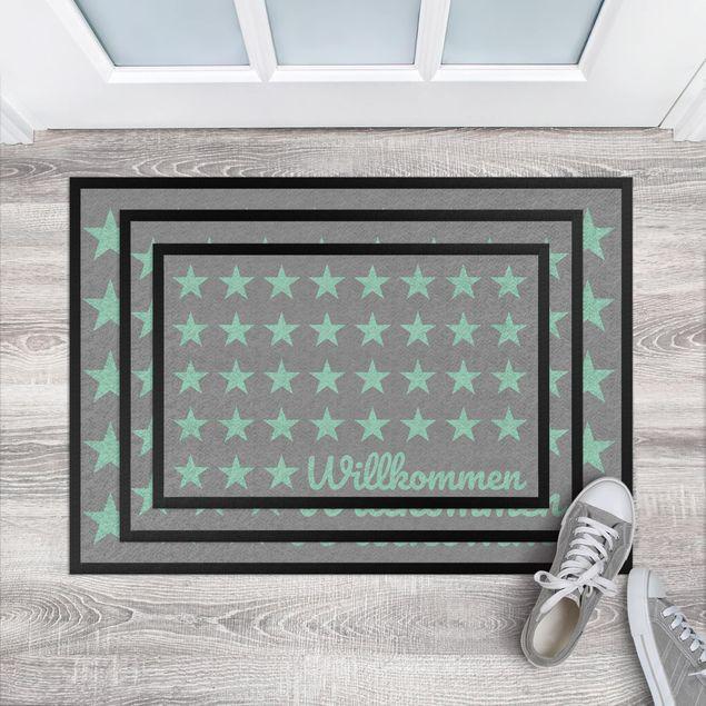 Fußmatte - Willkommen Sterne grau mint