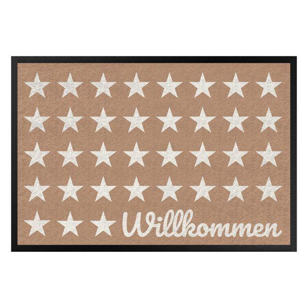 Fußmatte - Willkommen Sterne khaki