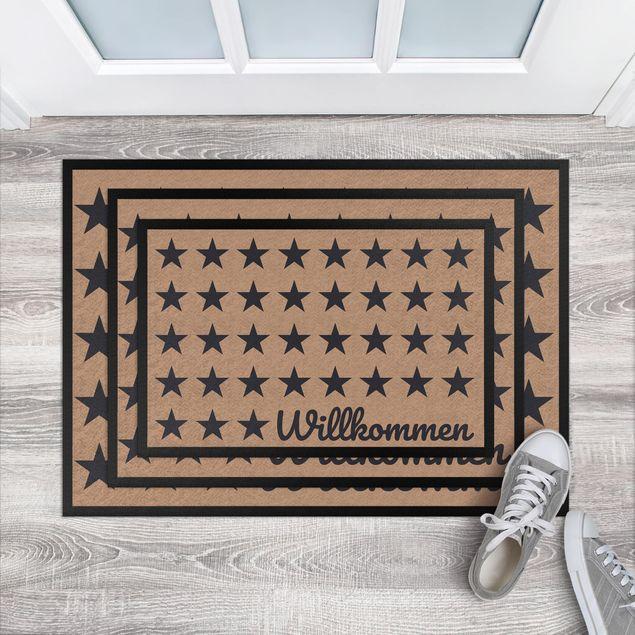Fußmatte - Willkommen Sterne khaki dunkelgrau