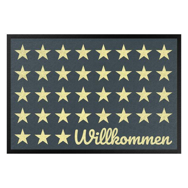 Fußmatte - Willkommen Sterne petrol gelb