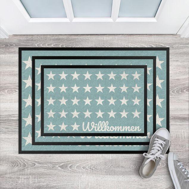 Fußmatte - Willkommen Sterne türkisgrau
