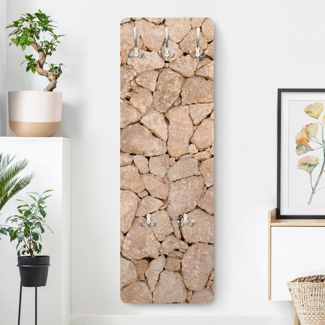 Garderobe - Apulia Stone Wall - Alte Steinmauer aus großen Steinen