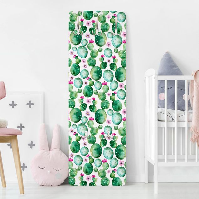Garderobe - Kaktus mit Blüten Aquarell